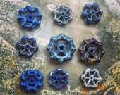 Drawer Pulls / Faucet Knobs / Handles / Drawer Pulls / Blue and Silver / Rustic