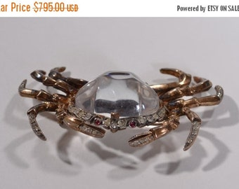 ON SALE 25% OFF Trifari Jelly Belly Crab Brooch - 1940s Sterling Crown Mark - Alfred Philippe Pin