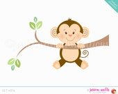 Instant Download, Monkey on Branch Cute Digital Clipart, Cute Monkey Clip art, Safari Monkey Graphics, Monkey on Branch Illustration, #814