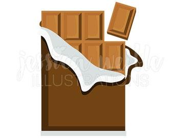 Chocolate Bar Cute Digital Clipart, Chocolate Candy Clip art, Chocolate Graphics, Candy Bar Illustration, #418