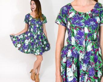80s Green Floral Dress | Tropical Print Mini Summer Dress | Small