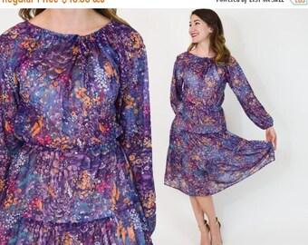 SummerS SALE 70s Floral Dress | Purple Print Peasant Summer Dress | Medium