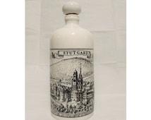 Vintage German Porcelain Bottle Stutgard Germany / White Black German Porcelain Bottle Decanter / ALTENKUNSTADT Germany Collectable Bottle