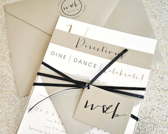 Bronson Wedding Invitation Suite with Monogram Tag and Ribbon Tie - Champagne Gold, Black, Ivory (colors/text customizable)