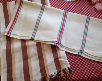 Pair Vintage Dishtowels Stripes Linen