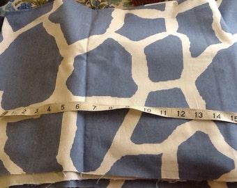 Slate Blue Giraffe Print Fabric Cotton
