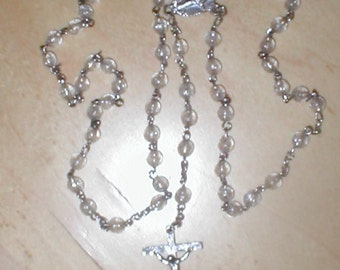 Vintage 1970's Clear Bead Rosary