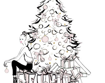 Watercolour fashion illustration Titled A Very Pink Christmas