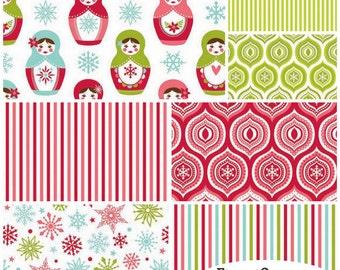 Merry Matryoshka FQ Flannel Fabric Bundle Riley Blake - Contains 7 Fat Quarters