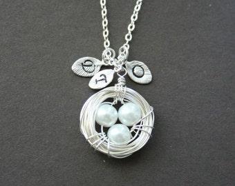 Mother's day Jewelry, Personalized Bird Nest Necklace, Initial Nest Necklace, Mother Necklace, 3 Eggs, Sterling Silver, Monogram Bird Nest
