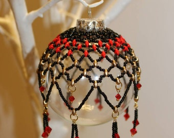 Beautiful beaded bauble in black, red and gold with red swarovski accents, heirloom, Christmas gift