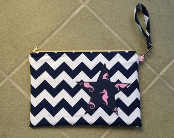 Pink and Navy Seahorse and Chevron Wristlet/Clutch