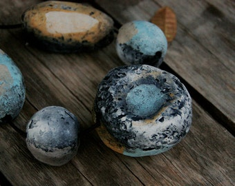 Moonlight ceramic necklace - raku fired