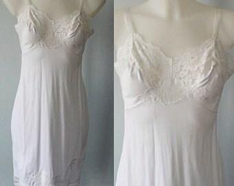 Vintage Full Slip, 1960s Slip, Vintage Full White Slip, Vintage Lingerie, White Slip, Vintage Vanity Fair, Wedding