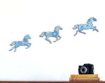 Art Nouveau Purple & Blue Galloping Horses - Retro Wallpaper - Wall Art