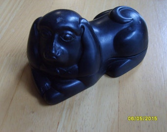 Vintage Dog Ink Well, Carved Stone Ink Well. Dog Ink Well, Vintage Dog Shaped