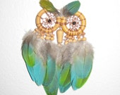 Special Order for Shaylene - Feather Owl Dream Catcher - Macaw Feathers- 5 inch