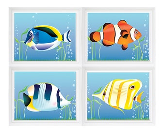 Fishing Bedroom Art. Fish Print. Fish Nursery   Custom color change option available Fish Wall Art Ocean Theme Print, ocean sea fish