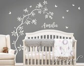 Wall Decal Nursery Tree With Personalized Name Wall Decal Large White Tree With Flowers and Butterlies Choose Your Own Name and Colors