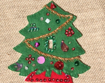 Vintage Felt Christmas Tree Switch Cover, Sequined, 1960s
