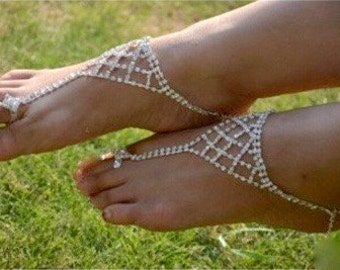 Beach Wedding Accessory, Beach Bridal Accessory, Beach Wedding Anklet, Beach Bridal Anklet, Beach Foot Jewelry, Barefoot Bridal Sandals