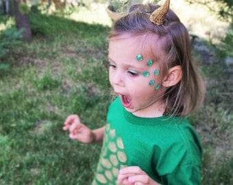Kids Dragon Costume Face Decals - Kids Mermaid Costume For Girl Boy - Kids Halloween Makeup - Childrens Baby Green Pink Fish Scale Accessory