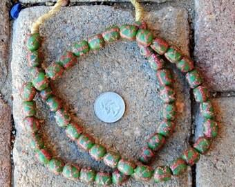 Krobo Beads: Green/Pink (11x11mm)