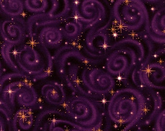 New - Violet Stargazer Star Swirls - Robert Kaufman - 1 yard - More Available - BTY