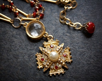 Vintage Goth Square Cross Pendant Necklace With Ruby Rhinestones, Pearls and Red Crystal Rosary Chain