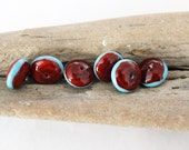 LAMPWORK BEADS - Brick Red Coral Turquoise Glass Beads, Spacer Saucer Beads, Artisan Beads, Glass Beads for Necklaces, Earrings, Bracelet