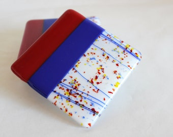 GLASS DRINK COASTERS - Red Blue Confetti Fused Glass, Bridal Shower Wedding Gift, Housewarming Gift, Coasters for Table, Coasters for Drinks