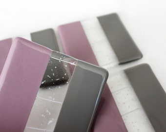 FUSED GLASS COASTERS - Purple Lavender Gray Drink Coasters, Under 25, Fused Glass, Wedding Gift, Bridal Shower Gift, Glass Drink Coaster Set