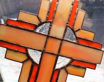 STAINED GLASS CROSS- Orange Peach Suncatcher, Wedding Gift, Christian Gift, Anniversary Gift, Confirmation Gift, Orange Christian Home Decor