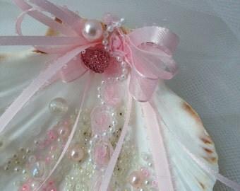 Shell Ring Bearer Ring Holder - Pink Beachy Wedding