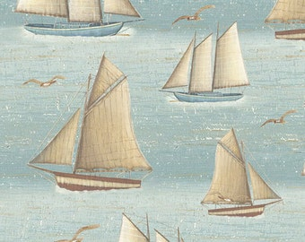Sailboats Blue Fog - Seaside from Quilting Treasures - Full or Half Yard Sailboats and Sea Gulls on Blue Fog - Nautical, Ocean