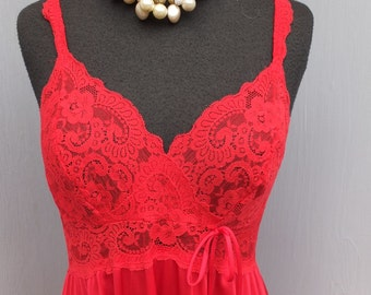 Vintage Olga Nightgown, Red Olga Body Lace Gown, Size L style 9291