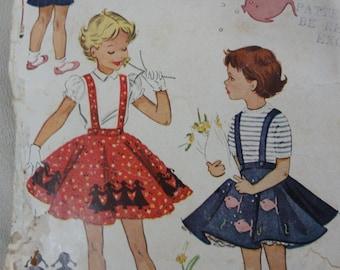 1953 Girls' Circle Skirt & Petticoat, Suspenders Skirt, Ruffled Petticoat Skirt - Vintage 50s McCall's Sewing Pattern 1817- Size 4 Waist 21