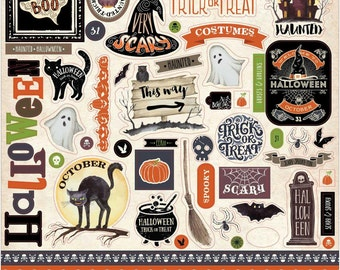 Carta Bella Haunted Collection CARDSTOCK ELEMENTS STICKERS Halloween Scary