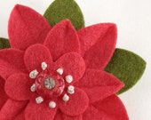 Felt Flower Brooch Strawberry Fields with Vintage Rhinestone Button and French Knots - Handmade