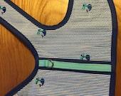 Whale pattern seersucker Small Dog Harness, Preppy, Nantucket, Martha's Vineyard, Made in USA