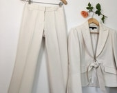 RESERVED 4 SARAH White Pantsuit Ivory Eggshell Off White Polyester Pantsuit Vintage 70's/80's Anne Klein Suit Fitted Front Tie Jacket