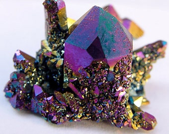Druzy or druze Rainbow Titanium Flame Aura Crystal • Authentic Arkansas Quartz • wicca metaphysical reiki a2