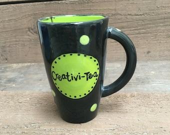 Creativi-Tea - Tall Tea Bag Holder Mug / Cup  - Apple Green and Black with Polka Dots