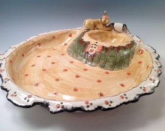 Chip and dip bowl/dog art/Chip and dip set/yellow lab art/bowls/handmade bowl/party animal bowl/pottery bowl/chip and dip server/yellow lab