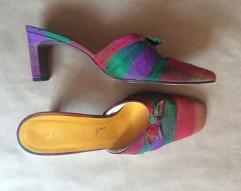 90's vintage color block silk shoe / mules / slip ons / womens shoes / chunky 90's heel / size 7