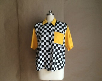 WEEKEND SALE 25% OFF / ultimate 80's 90's Fresh Prince style shirt / blouse / top / color block checkered button up