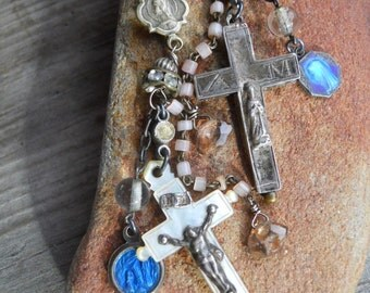 SALE...Ava Maria      Antique French Crucifix Medal Assemblage Earrings