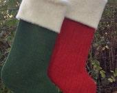 Two Christmas Stockings, Burlap Christmas Stockings Custom Colors