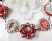 Red Vintage Cluster Earring Bracelet, Ruby Red Crystal & Rhinestone Silver Wedding Bracelet Bridal Bridesmaid Valentine's Day Gift for Her