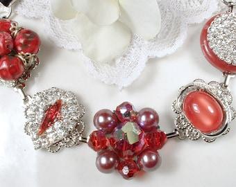OOAK Red Vintage Bridal/Bridesmaid Bracelet, Ruby Rhinestone Vintage Wedding Earring Bracelet Silver Crystal Cranberry Red Bracelet 1950s